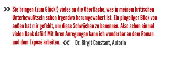 Birgit Constant über Stephan Waldscheidts Gutachten für Autoren